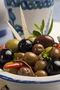 Spanish tapas. Olives in a plate. Royalty Free Stock Image