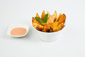 Spanish tapas patatas bravas fried potatoes with spicy sauce Stock Photography