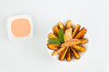Spanish tapas patatas bravas fried potatoes with spicy sauce Stock Image