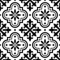 Spanish tile pattern, Moroccan tiles design, seamless black and white background - Azulejo