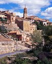 Spanish town albarracin spain view of the and church spire teruel province aragon western europe Royalty Free Stock Photo