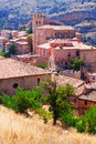 Spanish town from mount albarracin aragon Stock Images
