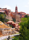 Spanish town in summer albarracin sunny view of aragon Stock Images