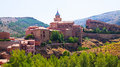Spanish town in summer albarracin sunny view of old spain Stock Image