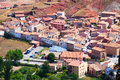 Spanish town in sunny day albarracin top view of aragon Stock Photos