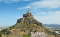 Spanish valley with ancient castle of Monteagudo Stock Images