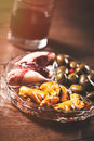 Spanish vermouth traditional appetizer with drink canned food Royalty Free Stock Photo