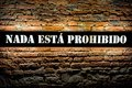 A spanish wall decor lamp nothing is prohibited nada esta prohibido Royalty Free Stock Image
