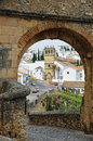 Spanish white town Ronda near the Old bridge Royalty Free Stock Photo