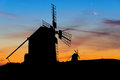 Spanish Windmill Silhouette Royalty Free Stock Photo