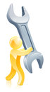 Spanner wrench gold man Royalty Free Stock Photo