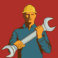 Spanner Wrench man Stock Photos