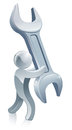 Spanner wrench man Royalty Free Stock Photo