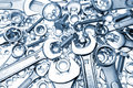Spanners, nuts and bolts Royalty Free Stock Photography