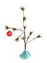 Sparce christmas tree little with lone bulb Stock Photos