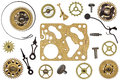 Spare parts for clock. metal gears, cogwheels and other details Royalty Free Stock Photo