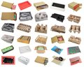 Spare parts and electronic components  packs  and  box  isolated set Royalty Free Stock Photo