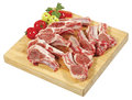 Spare rib roast spare rib joint blade shoulder shoulder butt were thinly sliced and placed on wooden cutting board Royalty Free Stock Photos