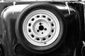 Spare wheel on the vintage car Royalty Free Stock Photo