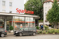 Sparkasse subsidiary of the german bank with copy space to the right Stock Photos