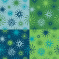 Sparkle Flower Pattern in Blues and Greens Royalty Free Stock Photography