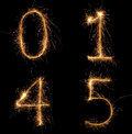 Sparkle numbers set fire stroke look for other nearby Royalty Free Stock Image