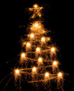 Sparkler Christmas tree Stock Photos