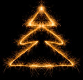 Sparkler Christmas tree Royalty Free Stock Photo