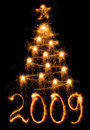 Sparkler Christmas tree Stock Images