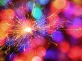 Sparkler color bokeh background golden with colorful Royalty Free Stock Photos