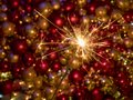 Sparkler firework in front of new year decoration Royalty Free Stock Photo