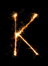 Sparkler firework light alphabet K (Capital Letters) at night Royalty Free Stock Photo
