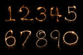 Sparkler firework light Number alphabet Royalty Free Stock Photo