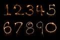 Sparkler firework light Number alphabet Royalty Free Stock Photo