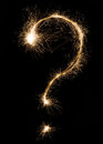 Sparkler firework light question punctuation mark Royalty Free Stock Photo