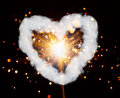Sparkler and heart smoke ring with shaped Stock Image