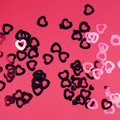 Sparkles hearts on purple background Royalty Free Stock Photo