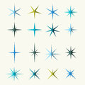 Sparkles symbols various shades on white background illustration Stock Image