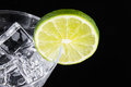 Sparkling beverage in a martini glass with a lime slice Royalty Free Stock Photo
