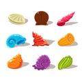 Sparkling Cartoon Sea Shells. Vector Illustration Set Royalty Free Stock Photo