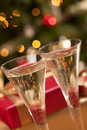 Sparkling Champagne Flutes and Gifts Stock Images