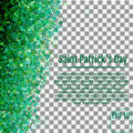 Sparkling clover shamrock leaves isolated on White background. A