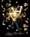 Sparkling glasses of champagne with Gold serpentine on black background, bokeh effect with sign Happy New Year