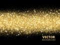 Sparkling glitter border on black. Festive background with vecto