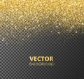 Sparkling glitter border, frame. Falling golden dust isolated on transparent background. Vector decoration. Royalty Free Stock Photo