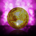 Sparkling golden disco ball Stock Photo