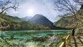 Sparkling lake at shuzheng valley of jiuzhaigou china a panorama view Stock Image