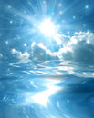 Sparkling star over blue lake Stock Images