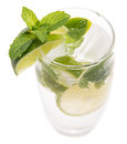 Sparkling water isolated on white with limes and mint Stock Photos