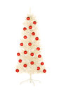 Sparkling white artificial christmas tree decorated with red balls isolate isolated on Stock Photography